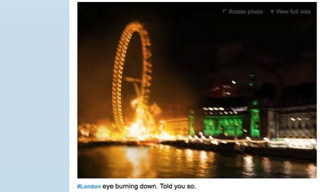 A fake photograph appearing to show the London Eye on fire which circulated on Twitter during the UK August riots.